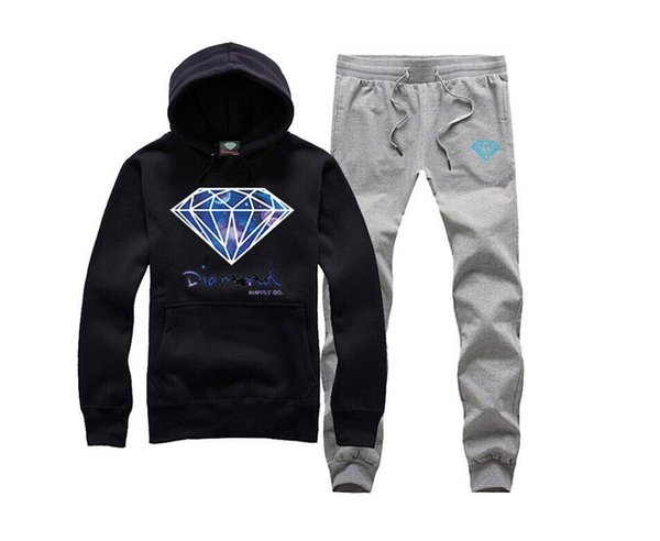 s-5xl men hip hop suit Diamond Supply autumn hoodies+pants sweatshirts fashion tracksuit menswear sets Free shipping