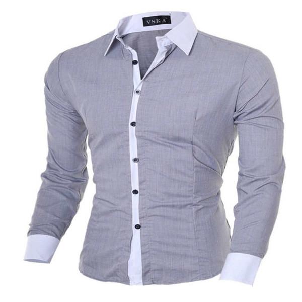 Wholesale-2016 New Fashion Hit Color Stitching Men's Shirts Men's Long-sleeved Korean Men's Casual Shirt Collar
