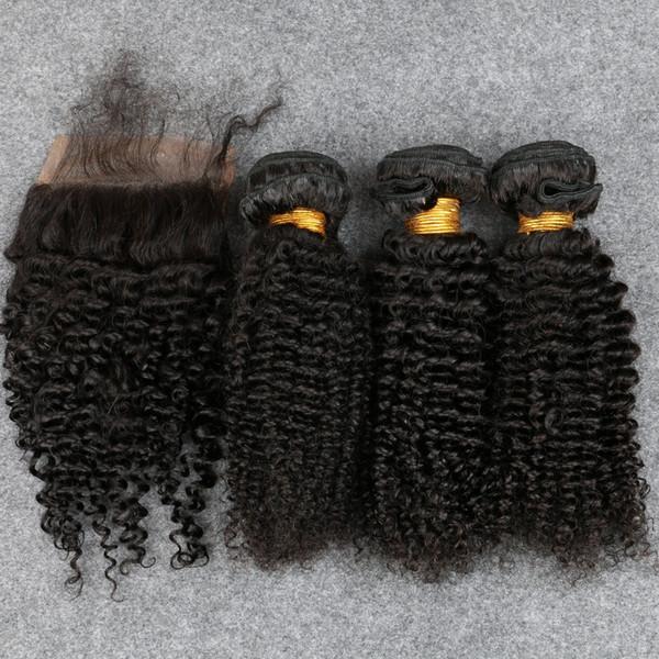 8A mongolisches verworrenes gelocktes Jungfrau-Haar im Menschenhaar bündelt mit Schließung verworrenes lockiges mit Schließung Silk Closure frei / Mitte / Seite