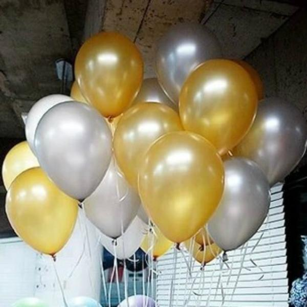 100pcs Latex Gold Round Balloon Party Silver Pearl Balloons Wedding Happy Birthday Anniversary Decor 10 inch new