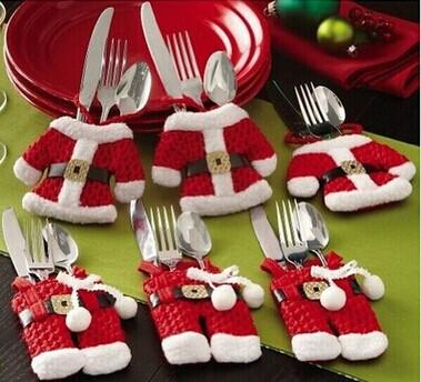 vente chaude Petits sacs de vetements Santa Claus Christmas fournitures couteau de noel et coutellerie fourchette