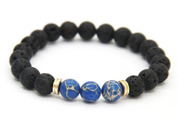 Fashion Homme Lava Rock Tigers eye Mala Perles de l/'énergie Yoga De Perles Bracelet Bijoux