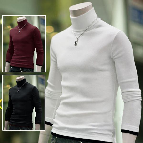 top popular Wholesale-Free Shipping Men's Stylish Vogue Casual Fit Warm Soft Turtle-Neck Long Sleeves Tops Jumper Sweater White Black Red 2019