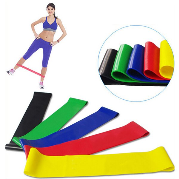top popular 5 Color Body Building Yoga Stretch Bands Belt Fitness Rubber Band Elastic Exercise Straps Indoor Sport Gym Pull Up 2019