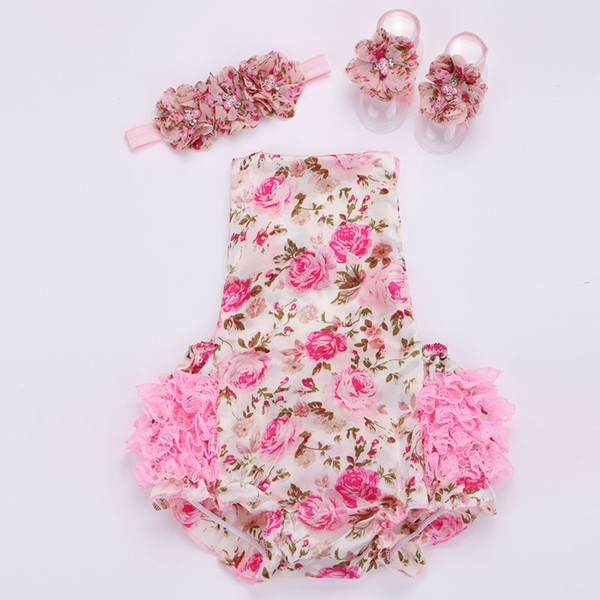 best selling HOT SALE!!! Floral baby lace romper for toddler headband shoe set;ropa bebe boutique infant summer clothes;newborn baby girl clothes 2sets