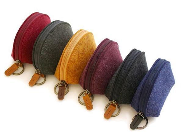 Moda lana Felt Coin Case Zip-around Llavero Chain Ring Moneda clave Tarjeta de crédito Bills Purse Wallet Pouch Regalos de Navidad 5 colores