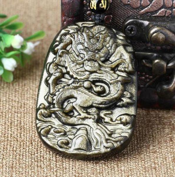 Neue natürliche schöne Schmuck Chinese Exquisite 100% China Chinesische Natürliche Gold Obsidian Drachen drachen anhänger halskette