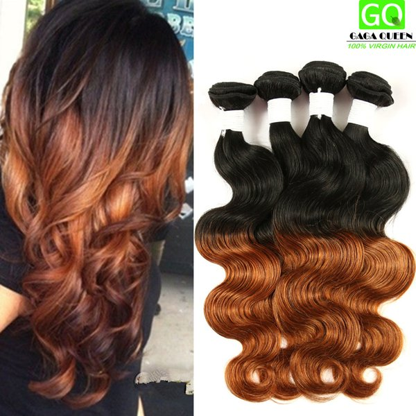Indian Remy Human Hair Ombre Dip Dye Two Tone Indian Virgin Body Wave Hair Weaves 3Bundle Deals Indian Ombre Body Wave Hair Extensions