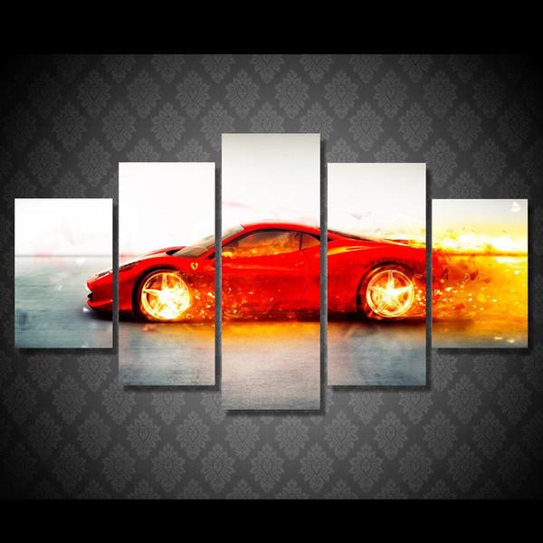 5 Unids HD Impreso Rojo coche deportivo Pintura sobre lienzo decoración de la habitación impresión cartel foto lienzo enmarcado fotos parís