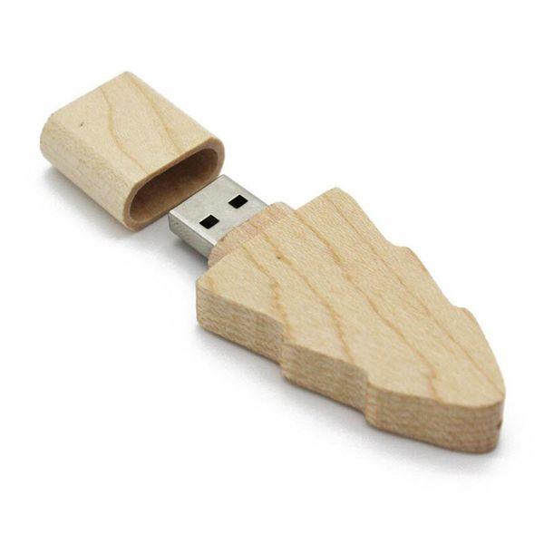 Hölzerner Mini-Weihnachtsbaum USB-Blitz-Antriebsgeschenk Stiftantrieb 32 GB 16 GB 8 GB 4 GB Pendrive-Kunde LOGO U Disk Memory-Stick