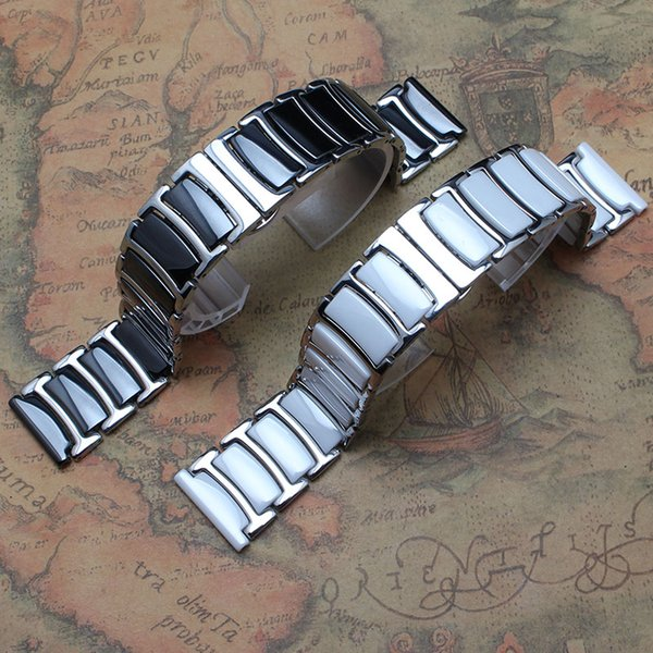 20mm 22mm black white ceramic watchband wrap stainless steel metal bright watch straps bracelet new arrival 2016 fit smart-watches men