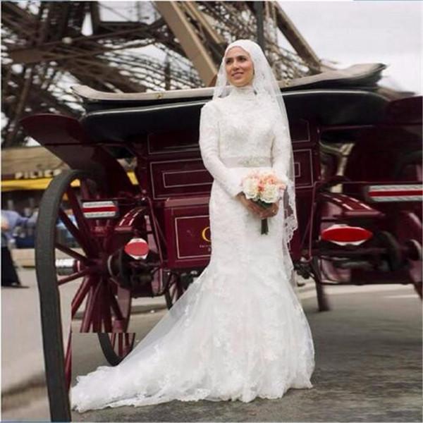 Vintage High Neck Mermaid Full Sleeves Muslim Wedding Dress With Veil Beaded Sash Appliques Long White Bridal Gown