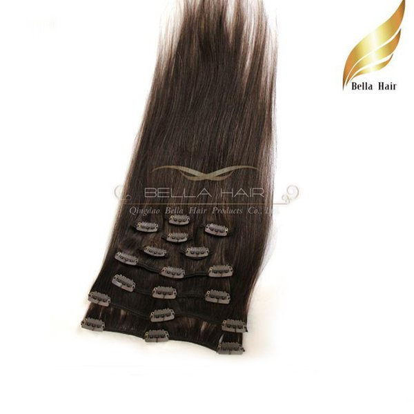 top popular New Fashionable Human Clip In On Hair Extensions Natural Brazilian Hairs Human Hair #2 Color Straight Weave 20inch 100g set 2019