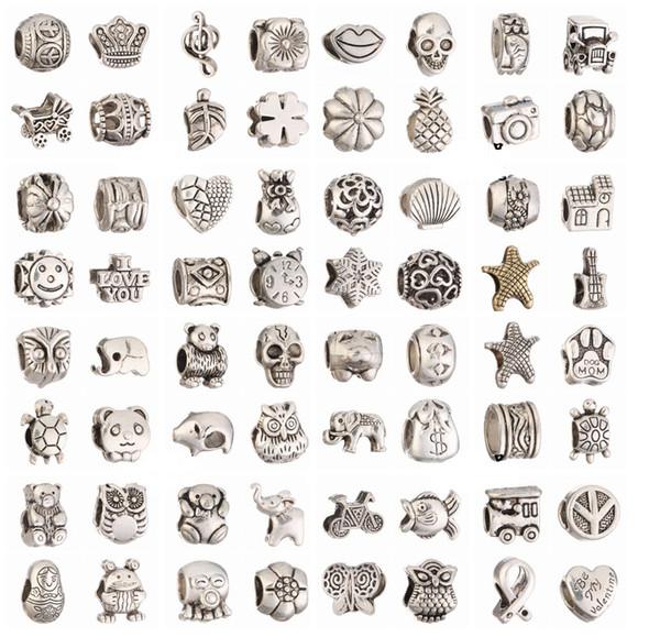 Mischen Sie 64 Arten großes Loch lose Perlen Charme für DIY Schmuck Armband für europäische BraceletNecklace Retro tibetische Silberperlen für DIY