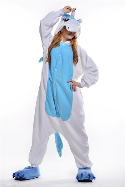 2018 Free Shipping Unisex Adult Unicorn Onesie Animal Pajamas One Piece Cosplay Costumes Kigurumi Pajamas Women and Men Sleepwear Homewear