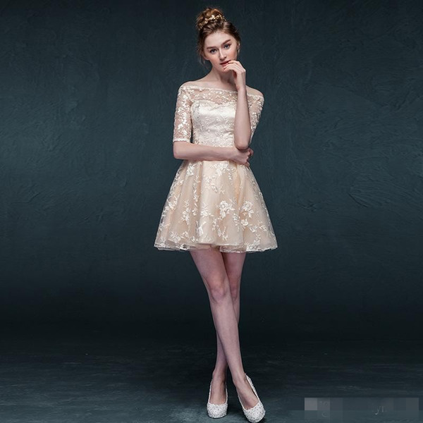 Champagne Sleeved Semi Formal Dress For Teens Lace Overlay Off Shoulder Short Homecoming Dress Custom Made