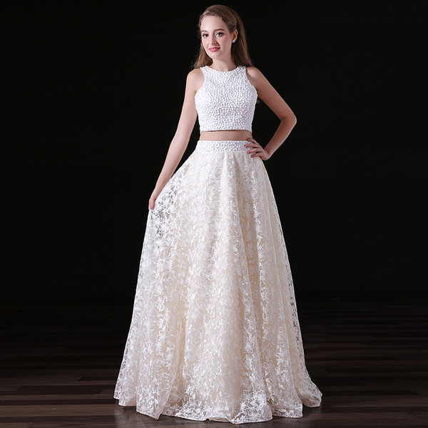 Two Piece A Line Backless Prom Dresses Beading Sleeveless Scoop Neck Floor Length Lace Formal Evening Gown Custom Made Plus Size 15-A015