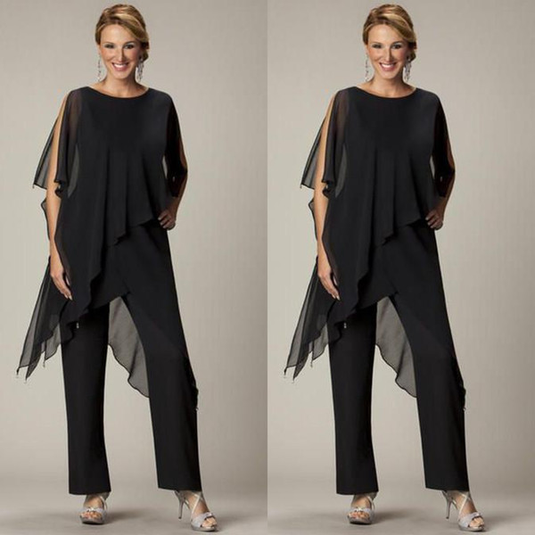 Cheap 2019 Two Pieces Pants Suits For Mother of The Bride Jewel Half Sleeve Plus Size Black Chiffon Evening Gowns Beach Wedding Party