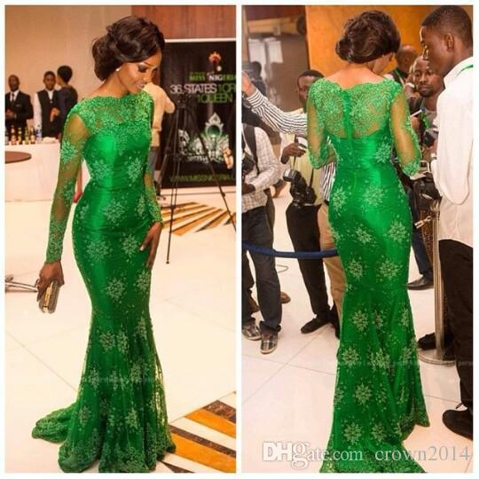 Elegant Emerald Green Lace Mermaid Prom Dresses With Long Sleeves Sheer Neck Trumpet Celebrity Red Carpet Miss Nigeria Evening Formal Gowns