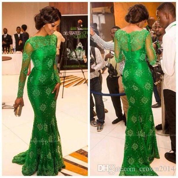 Elegante Vestidos de Baile de Sereia Rendas Esmeralda Verde Com Mangas Compridas Sheer Neck Trumpet Celebridade Red Carpet Miss Nigéria Noite Formal Vestidos