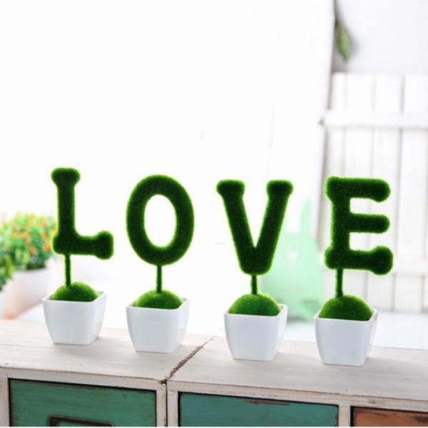 Plastica 4 pezzi Set San Valentino Regalo Fiori artificiali Erba finta Palla Simulazione Pianta Decorazione domestica Ornamenti di nozze Ea