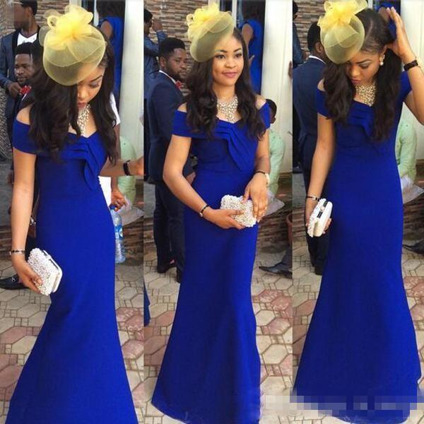 Royal Blue 2K16 Arabo Caftano Celebrity Abiti da sera 2019 Stile sirena Off spalla Plus Size lungo raso economici abiti da cocktail semplice