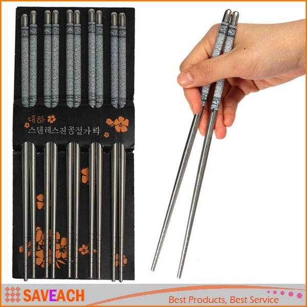 New Arrival High Quality 5Pair/Set Elegant Flower Print Stainless Steel Chopsticks For Home Restaurant Free Shipping