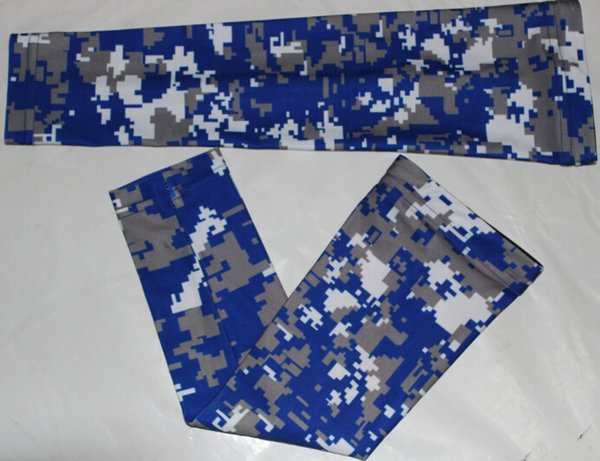 digital camo Sports Compression Arm Sleeves Youth Adult Baseball Football Basketball royal blue gray white DHL Free