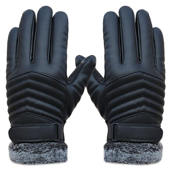 Jimshop Winter Men's Leather Gloves Driving Mittens Sports Tactical Thicken Keep Warm Winter In the Wild Gloves
