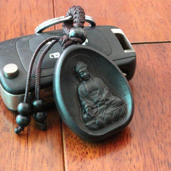 3pcs/lot llaveros Creative Personality Car Key Pendant Wood Black Amitabha Buddha carving Rosewood Buddhist Keychain Holder