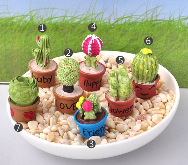 7pcs Kawaii Cactus Flower Pot Fairy Garden Terrarium Statue Miniatures Bonsai Tools Resin Craft Gnome Zakka Dollhouse Home Accessories