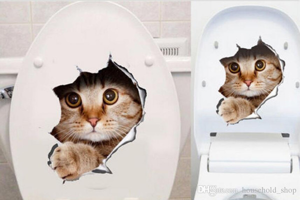 3D Wall Stickers Cats Decals Kitchen Refrigerator Kids Rooms Toilet lid Cat Dog Printed Stickers for Living Room