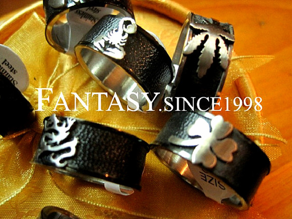 wholesale mixed lots 100pcs black punk style men's top stainless steel and leather fashion Jewelry Rings