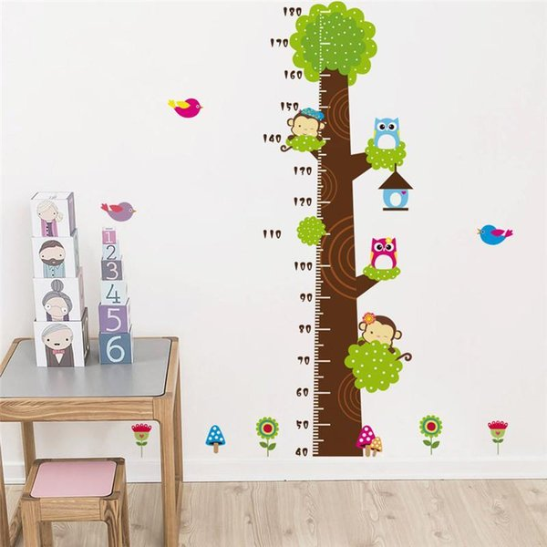 Owl Monkey Butterfly Flower Tree Growth Chart Wall Art Home