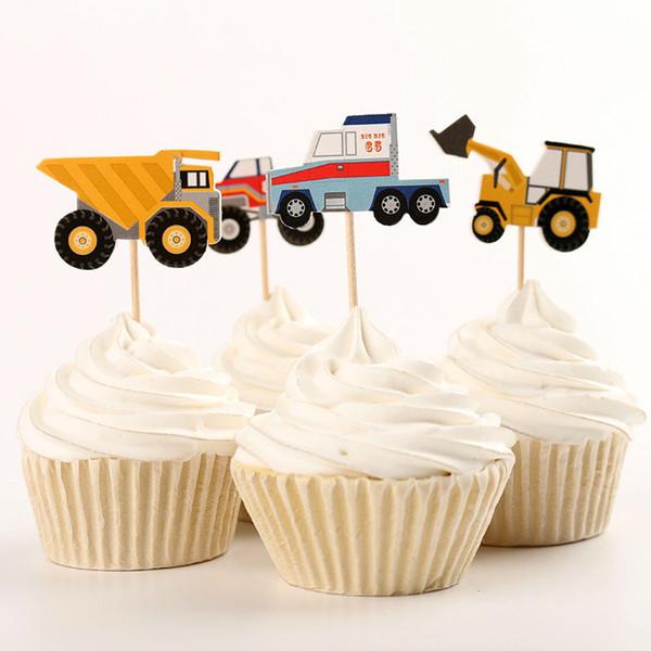 48 pcs Papel Caminhão Trator Bolo Topper Sailing Frutas Adesivos Decoração Cupcake Crianças Fontes Do Partido de Aniversário DEC071