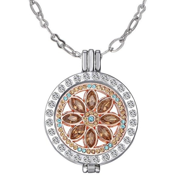 Mi Moneda 33mm My Coins Holder Pendant Locket Necklaces With Interchangeable coin Charm Inlaid Rhinestone Fine Jewelry floating necklaces