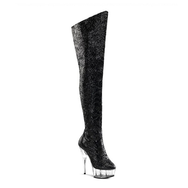 Customize New Pole Dancing Up Stiletto Sexy Over-the-knee Platform Boots Extreme High Heel 15cm Heel With Platform Women Shoes D0131