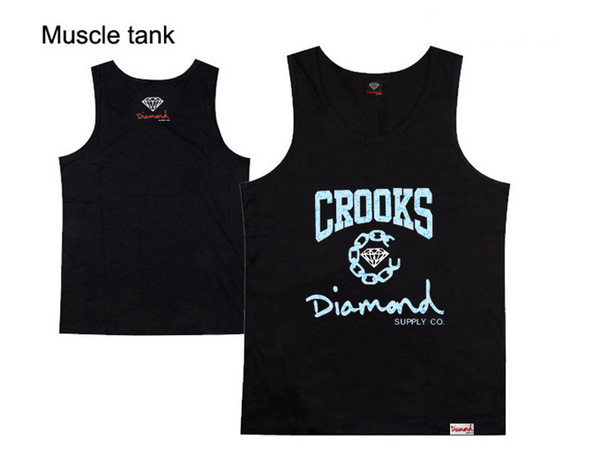 Fashion new diamond hiphop loose vest summer 100% cotton hip hop tank tops plus size S-XXXL diamond loose tank tops