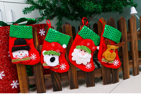 Bas de noël bling noël ornements pailletés chaussettes cadeaux bonhomme de neige ours cerf fournitures de noël