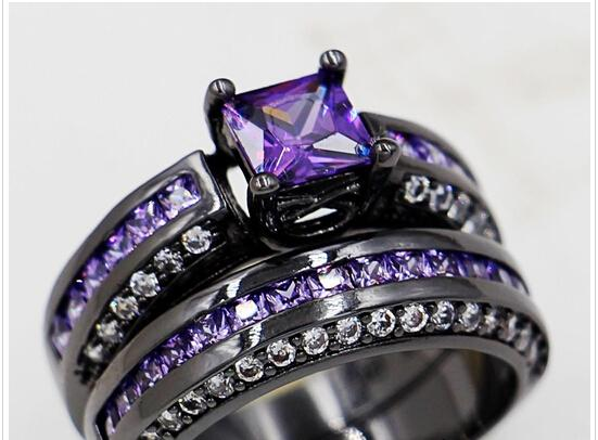 Commercio all'ingrosso - Dimensione 5/6/7/8/9 Marchio di gioielli Princess Cut 6mm Ametista 10KT Black Gold Filled Donna lady039; s Wedding Engagement Ring Set per