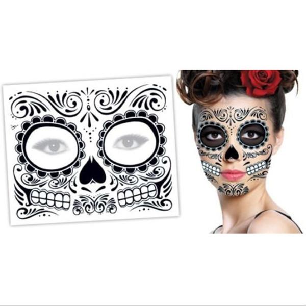 Sıcak satış Noel partisi yüz gün ölü yüzlü dövme Cadılar Bayramı ve masquerade topu gerekir, güzel dövme etiket su geçirmez