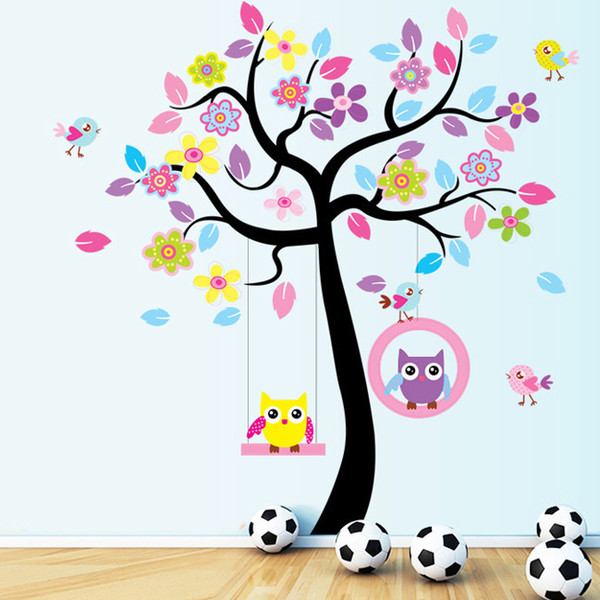 Free Shipping 2016 High Quality DIY Owl Tree Swing Removable Vinyl Wall Sticker Decal Kid Room Art Home Decor