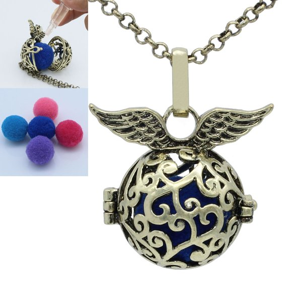 Antique Bronze Angel Wing Branch Hollow Locket Cage For Essential Oil Aromatherapy Diffuser Openable Pendant Chain Necklace Jewelry