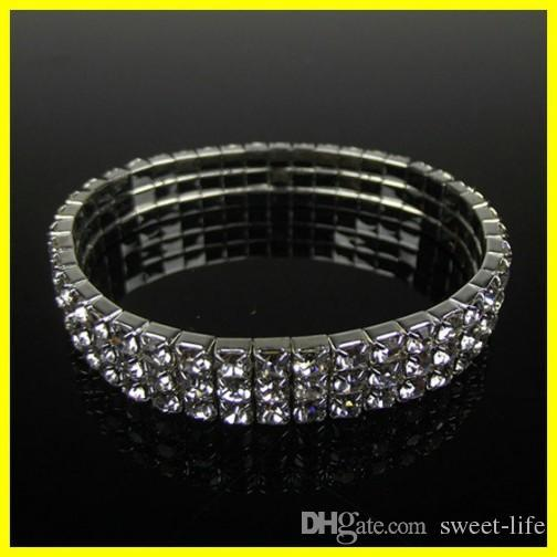 Hot Sale Cute 3 Row Rhinestone Stretch Bangle Wedding Bracelets Bridal Jewelry Free Ship Cheap Bracelet for Bride Party Evening Prom 15006