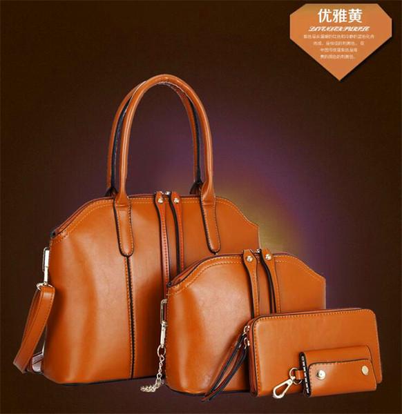 4 Pcs Sets Mode Frauen Handtasche Wachs geölt echtes Leder Schulter Crossbody Composite-Taschen Handtasche Messenger Bag Geldbörse Brieftasche