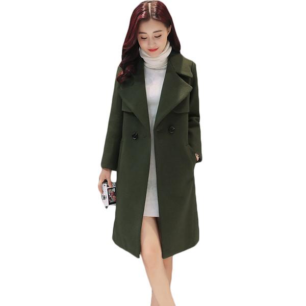 Acquista Autunno Donna Verde Doppio Petto Slim Lungo Cappotti Di Lana Lady Elegante Misto Lana Trench Coat Moda Inverno XH754 A $92.27 Dal Motoshop |