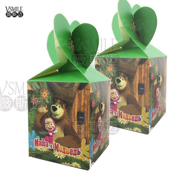 6pcs Masha & Bear cartoon lovely festival favor wedding birthday party decoration paper candy box Gift Box Cupcake Box suppliers