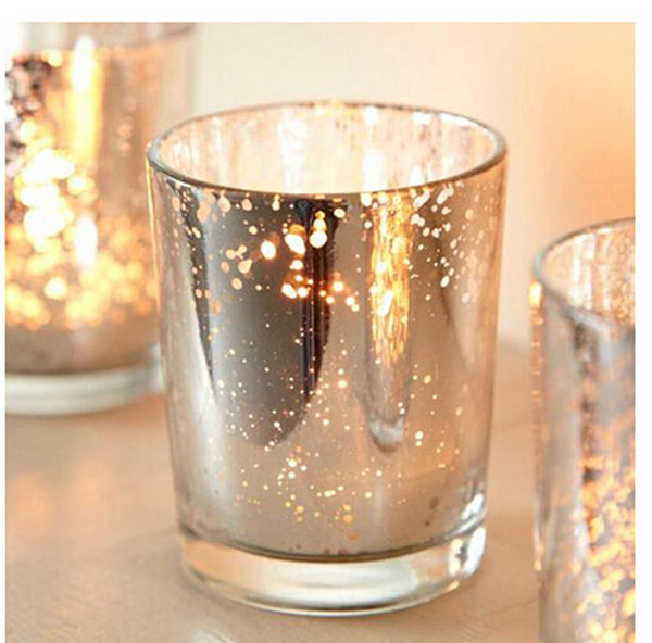 2.5 Inch Tall Glass Mercury Wedding Candle Holder in Silver Color Wending Decoration Free Shipping