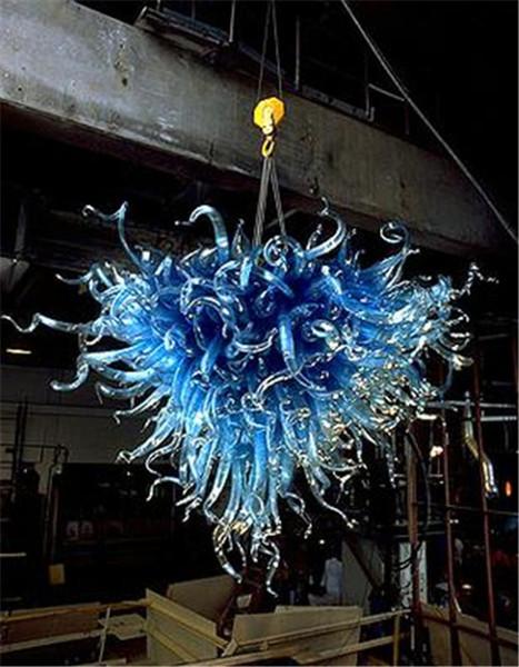 Medusa blu di stile in vetro soffiato Lampadario European Style Arte moderna decorazione domestica a forma di cuore decorazione dell'hotel Chandelier