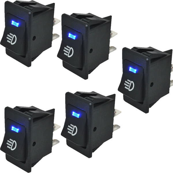 5 Pcs Car Rocker Switch 12V 35A ON OFF 4 Pin with Blue LED Light Universal Car Fog Light Switch ON-OFF Dash Dashboard